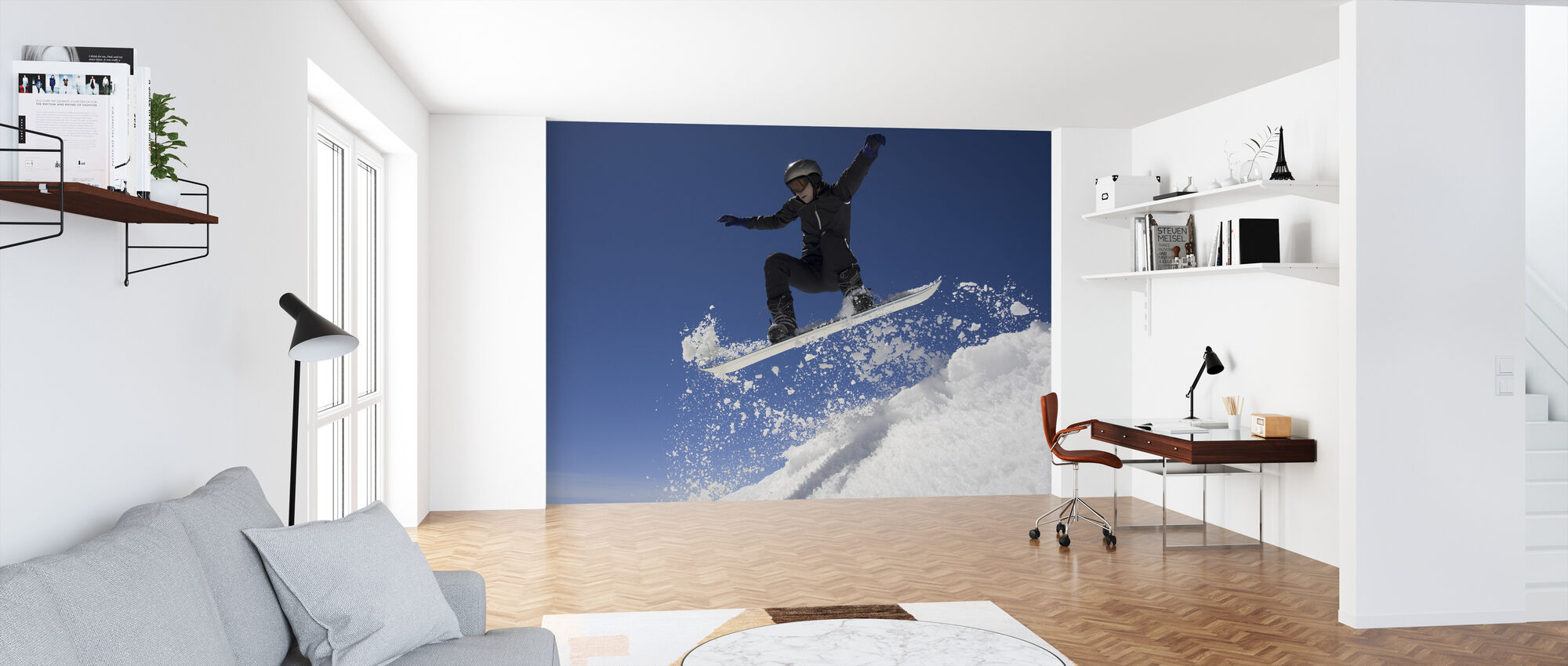 Snowboarder Jumping through Air - Wallpaper - Office