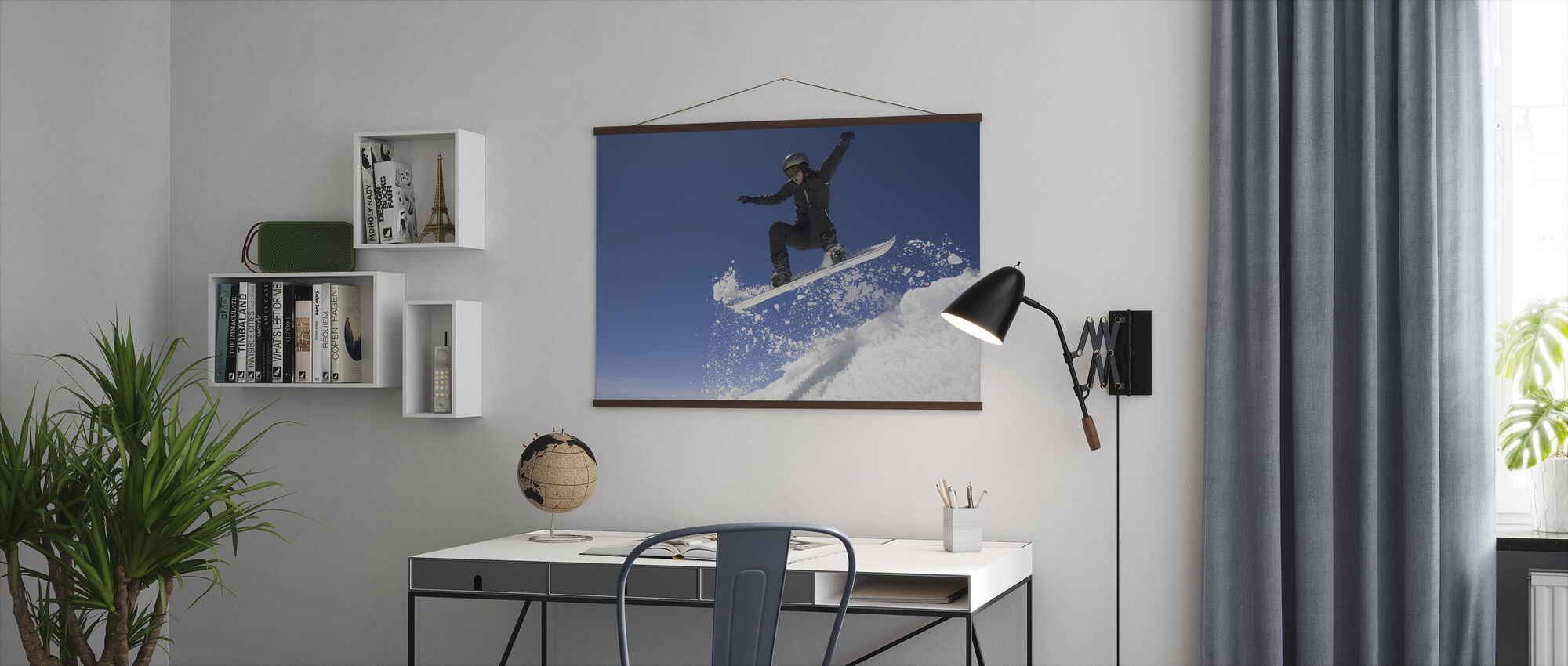 Snowboarder Jumping through Air - Poster - Office