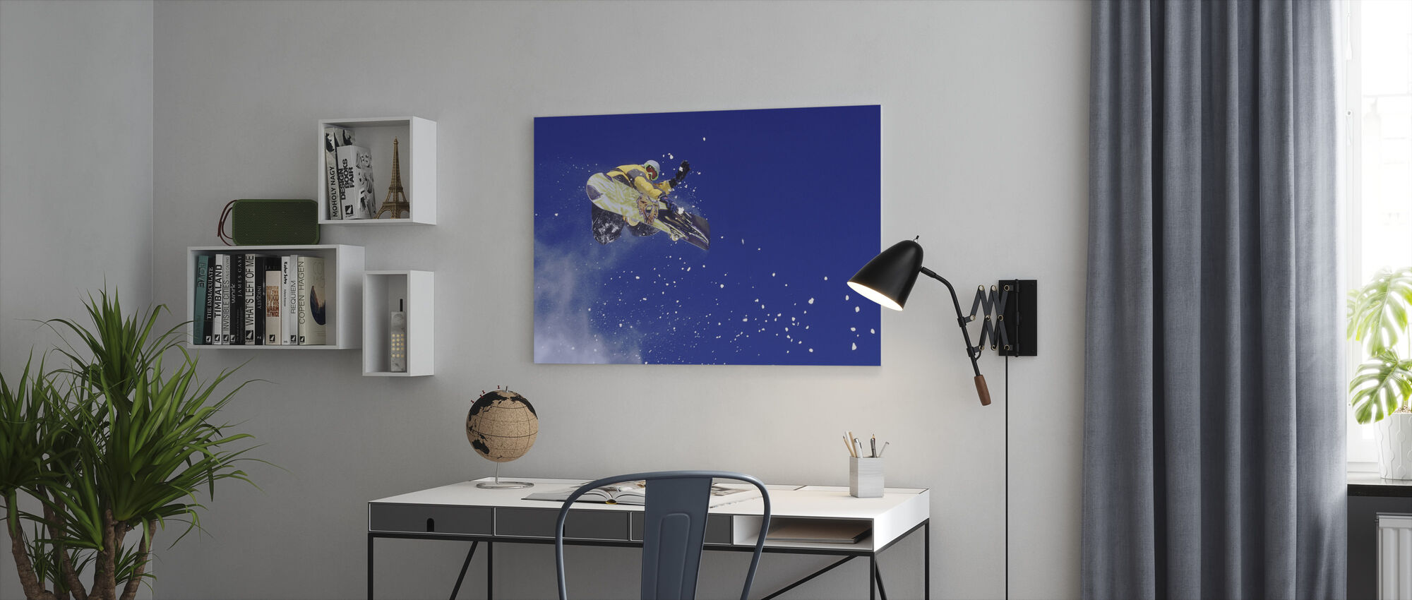 Airborne Snowboarder - Canvas print - Office