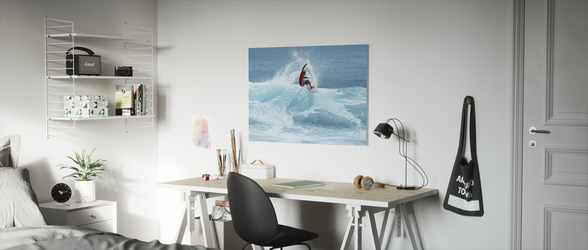 Surfer Carving Top of Wave - Canvas print - Kids Room
