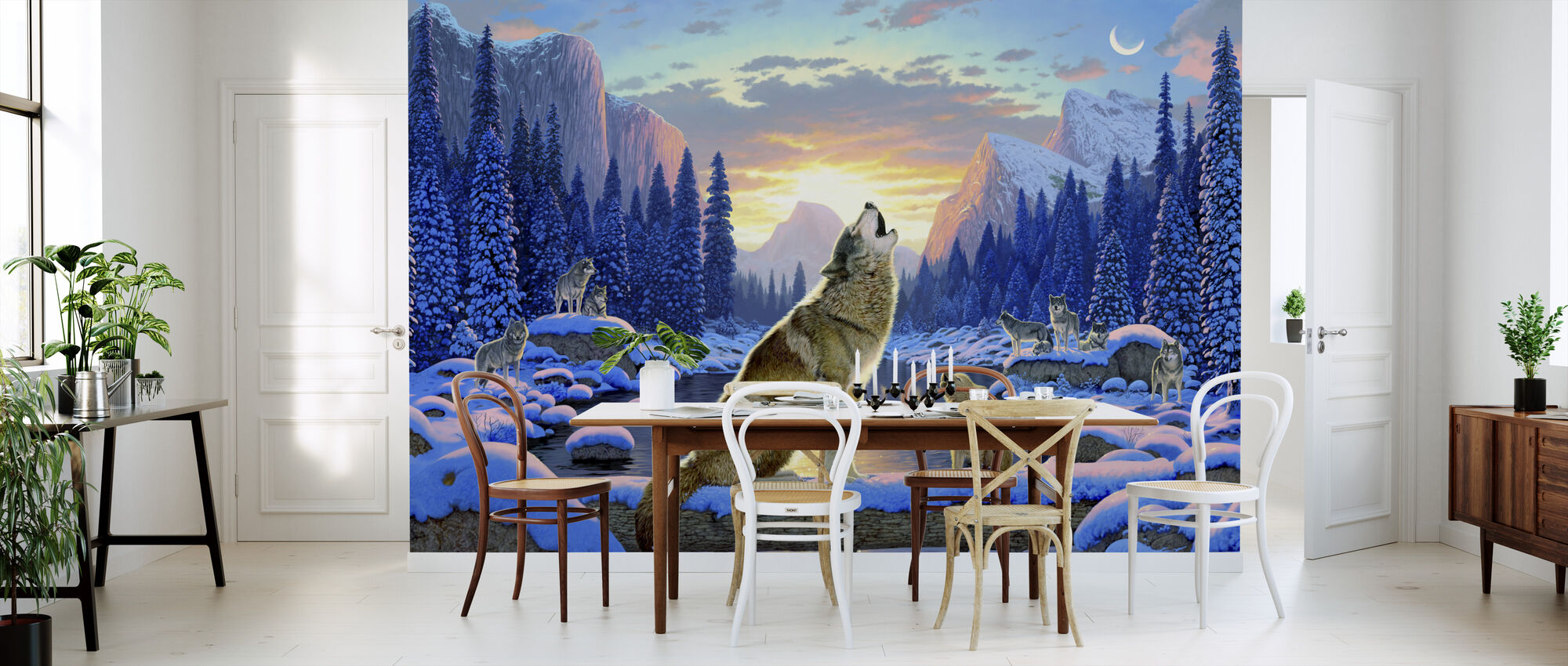 Sitting Wolf and Cub - Wallpaper - Kitchen