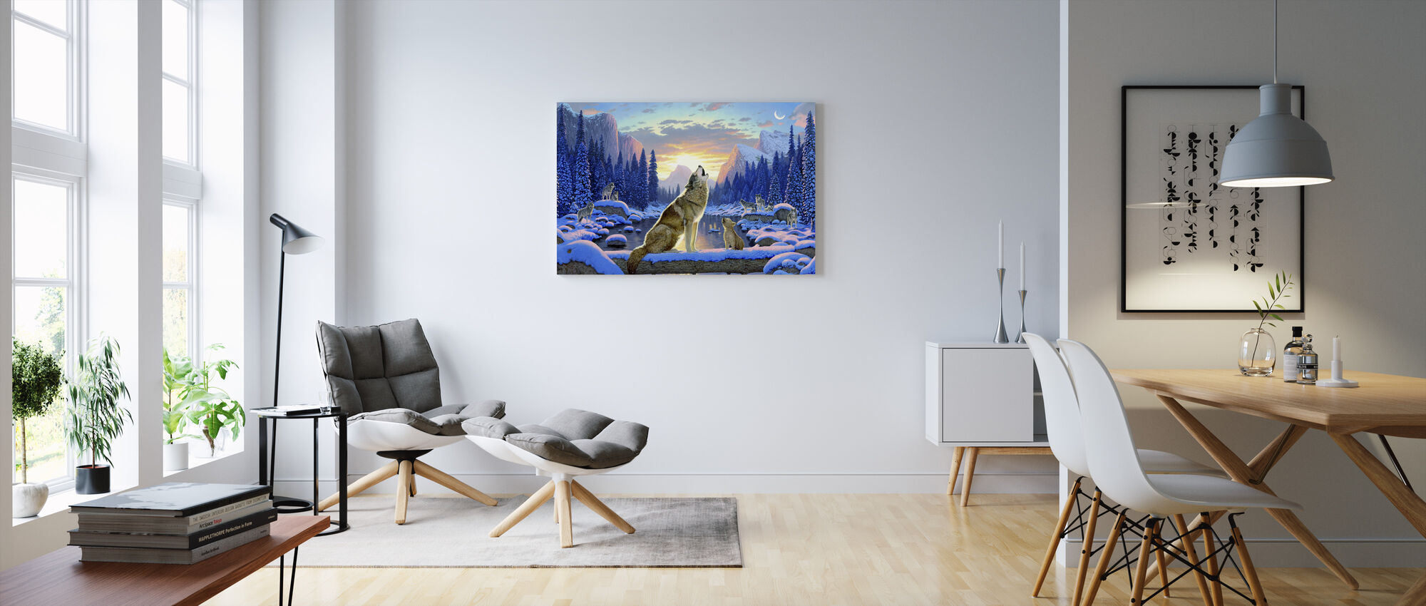 Sittande varg och unge - Canvastavla - Vardagsrum