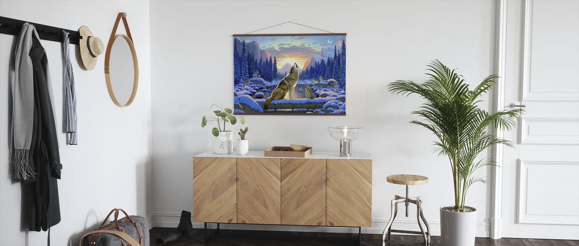 Sittande varg och unge - Poster - Hall