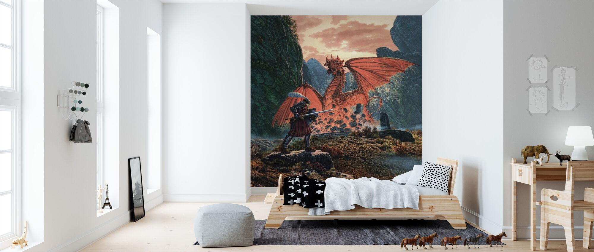 Röd drake vaknar - Tapet - Barnrum