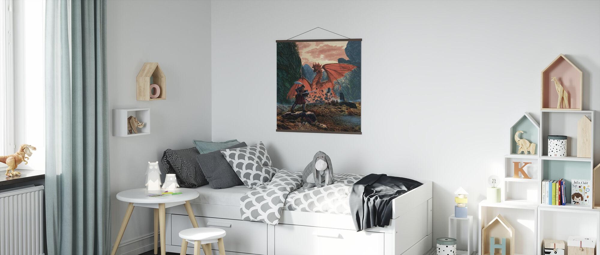 Rode Draak ontwaakt - Poster - Kinderkamer