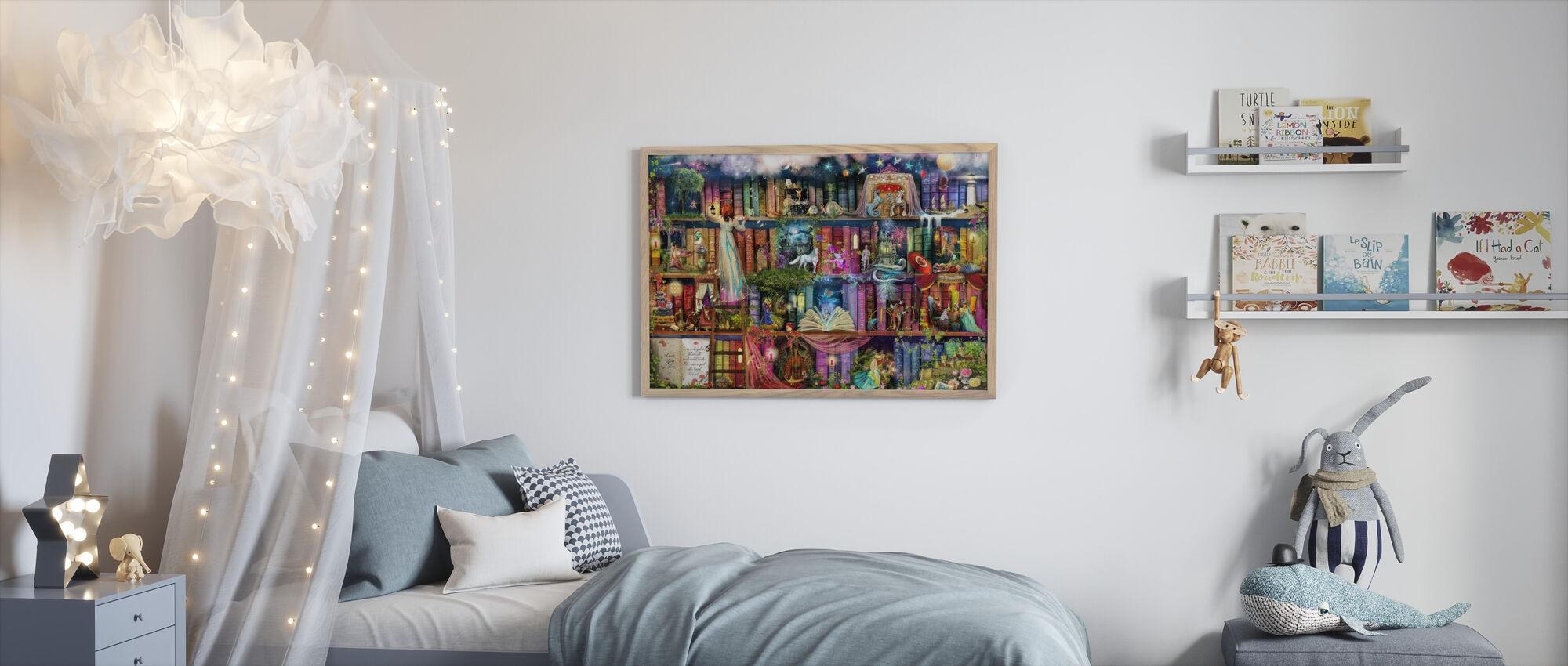 Treasure Hunt Book Shelf - Framed print - Kids Room