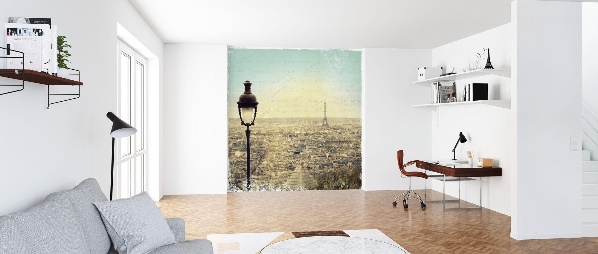 Eiffel Landscape Letter Blue - Wallpaper - Office