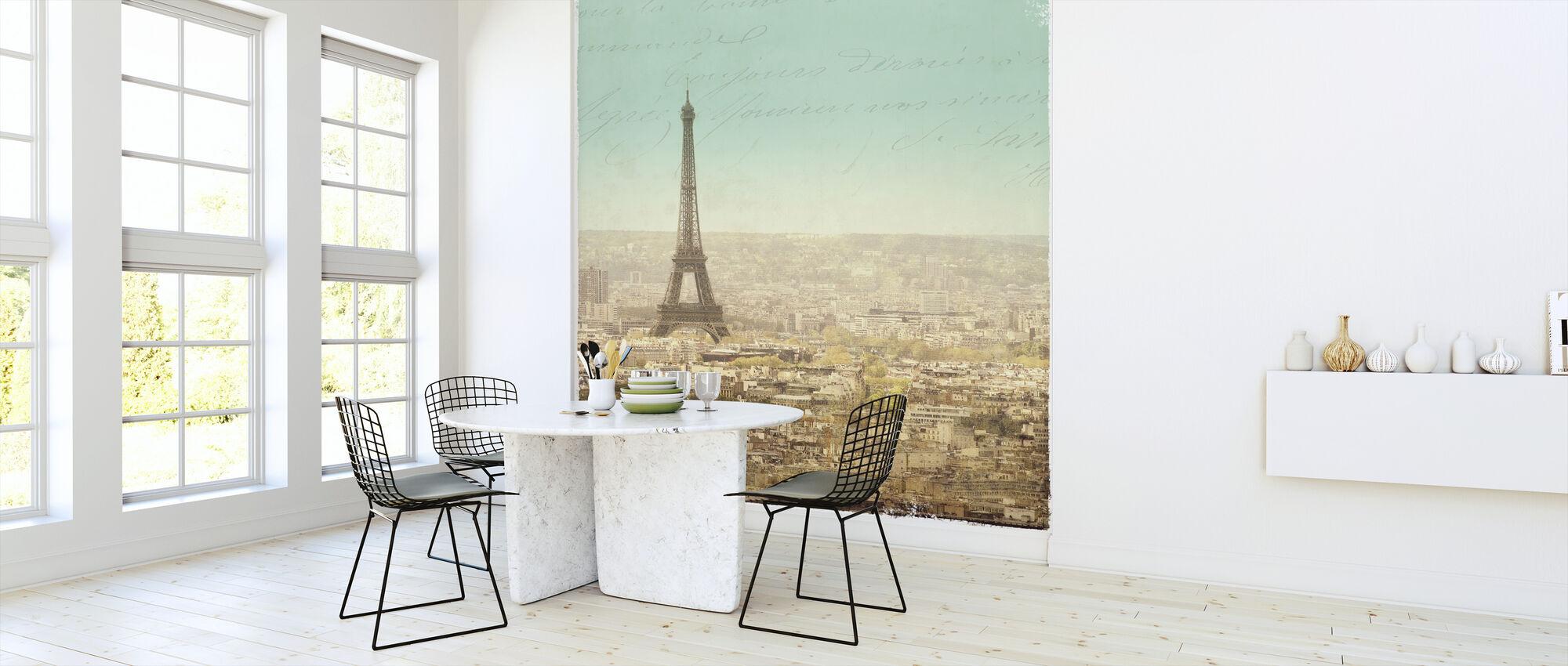 Eiffel Lansdcape Letter Blue 2 - Wallpaper - Kitchen