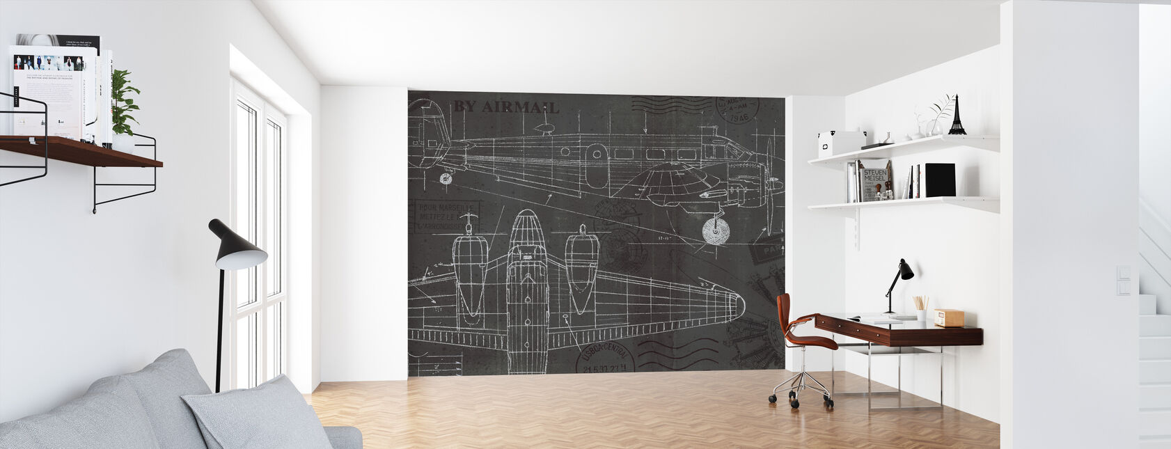 Plane Blueprint - Wallpaper - Office