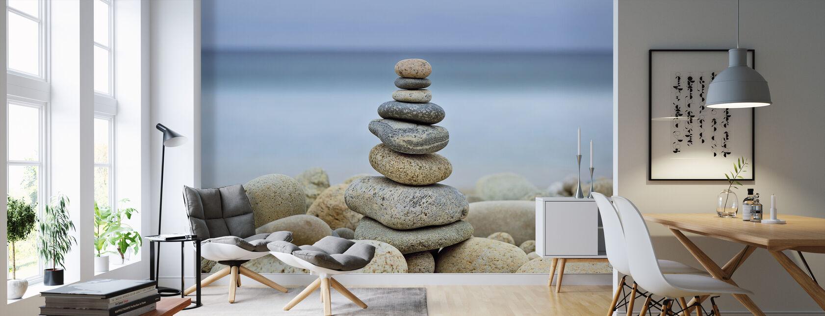 Stenen muur strand Cairn - Behang - Woonkamer