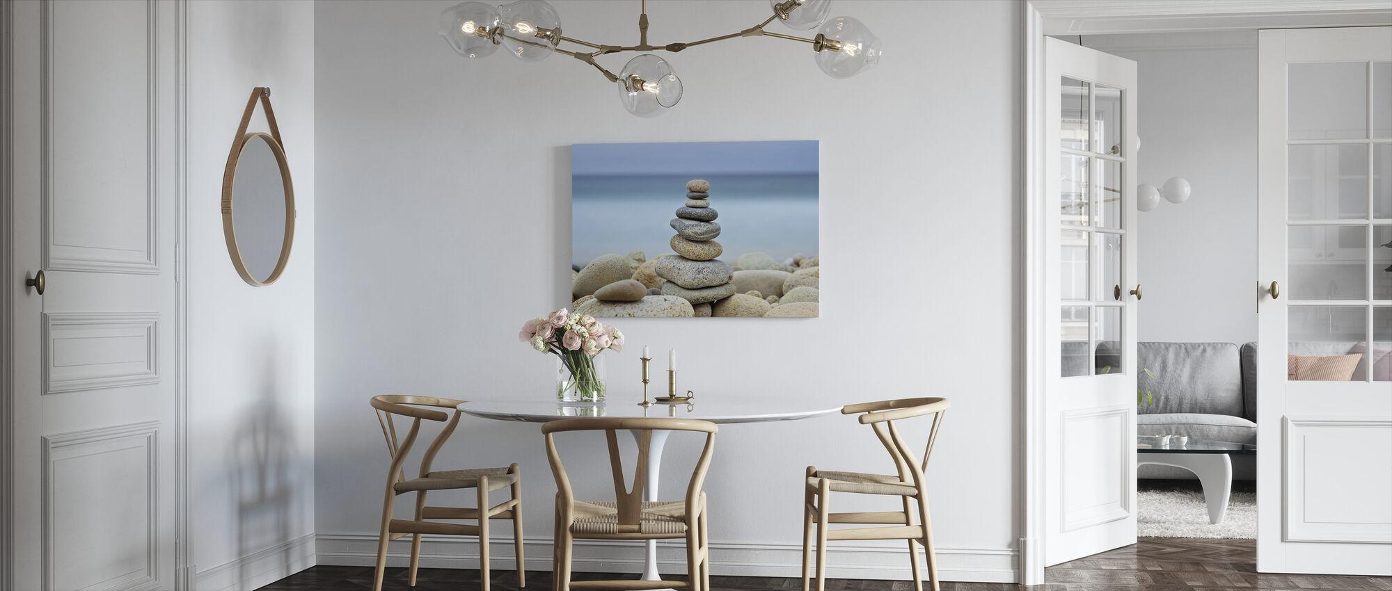 Sten vägg stranden Cairn - Canvastavla - Kök