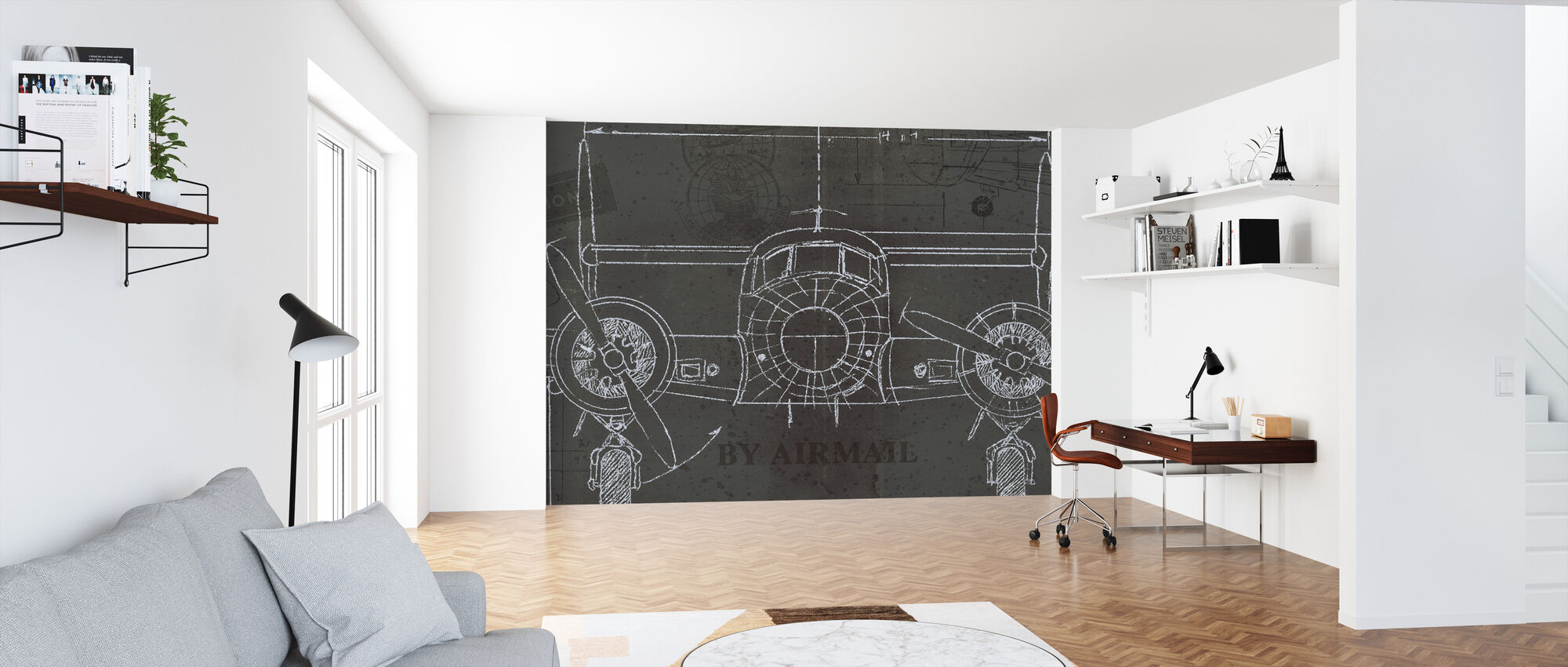 Plane Blueprint 4 - Wallpaper - Office