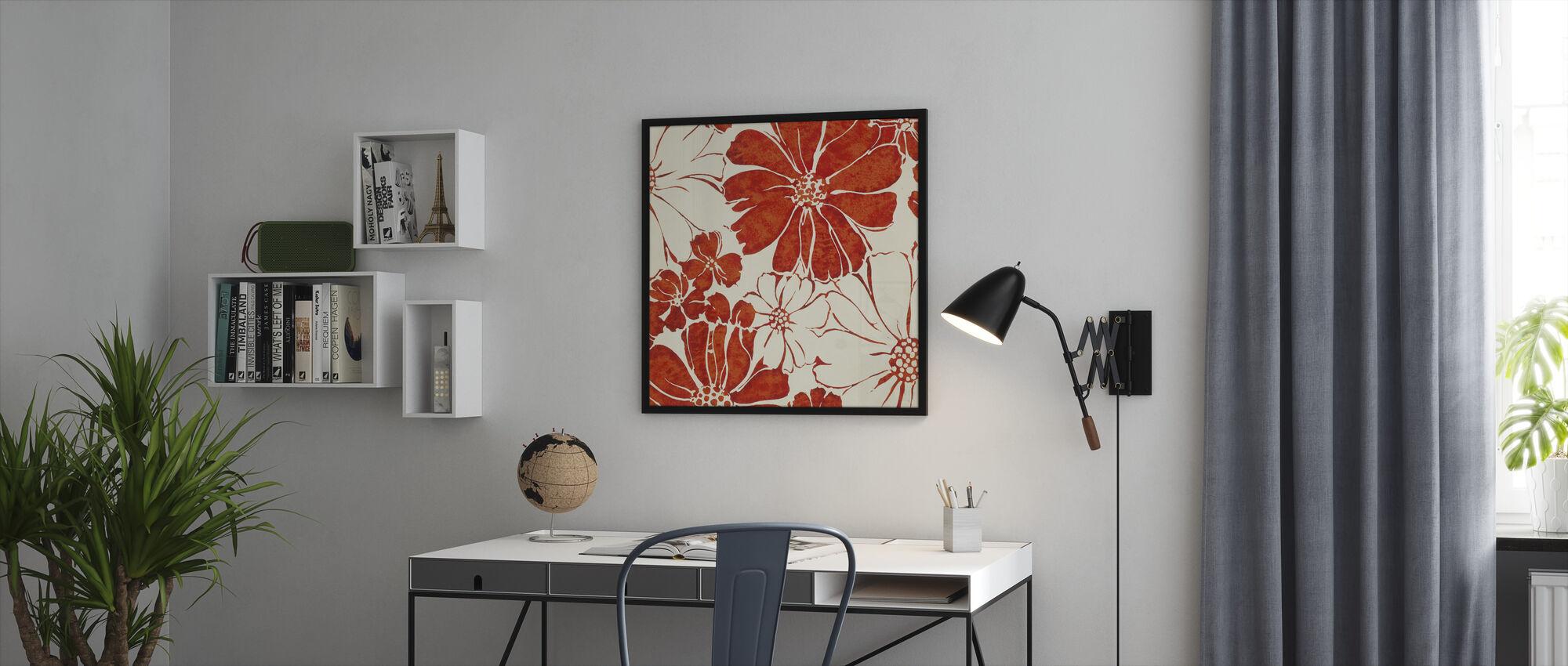Kesä Päivänkakkarat Punainen - Kehystetty kuva - Toimisto