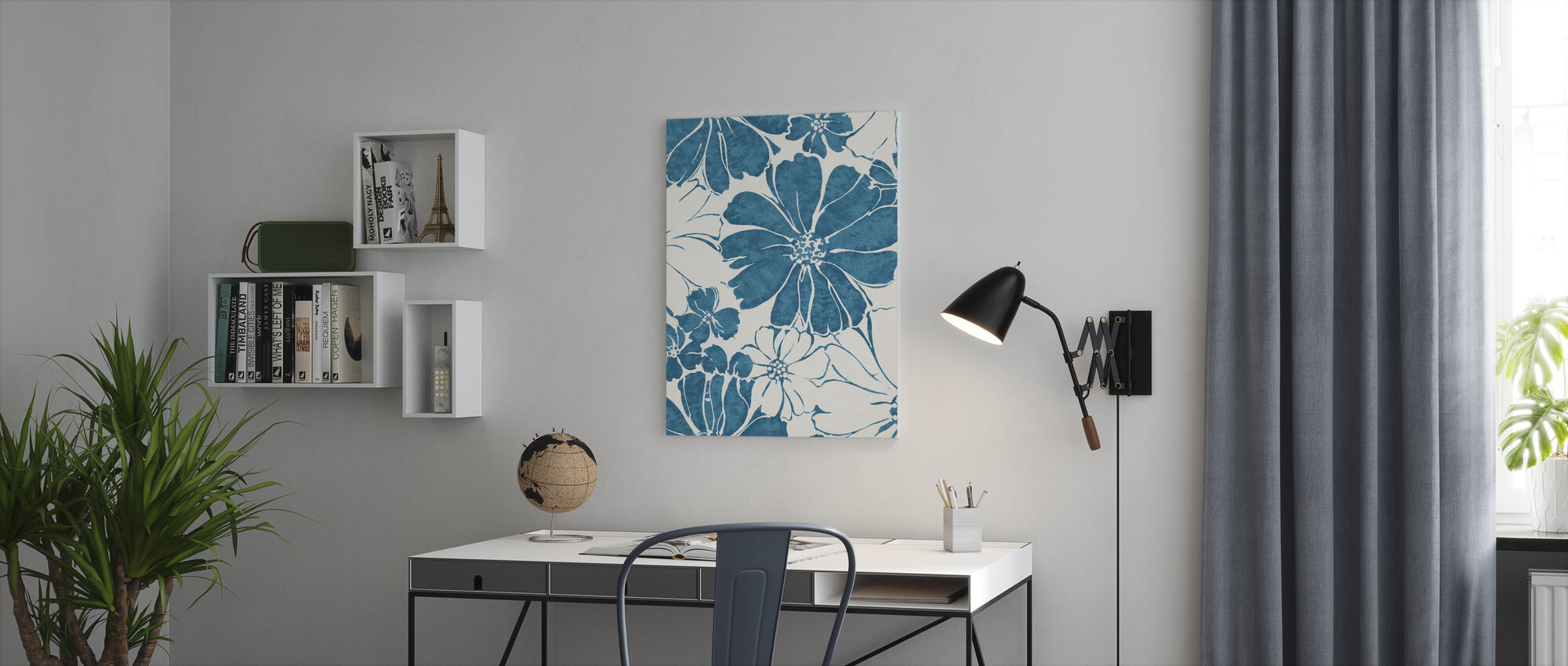 Summer Daisies Crop Blue - Canvas print - Office
