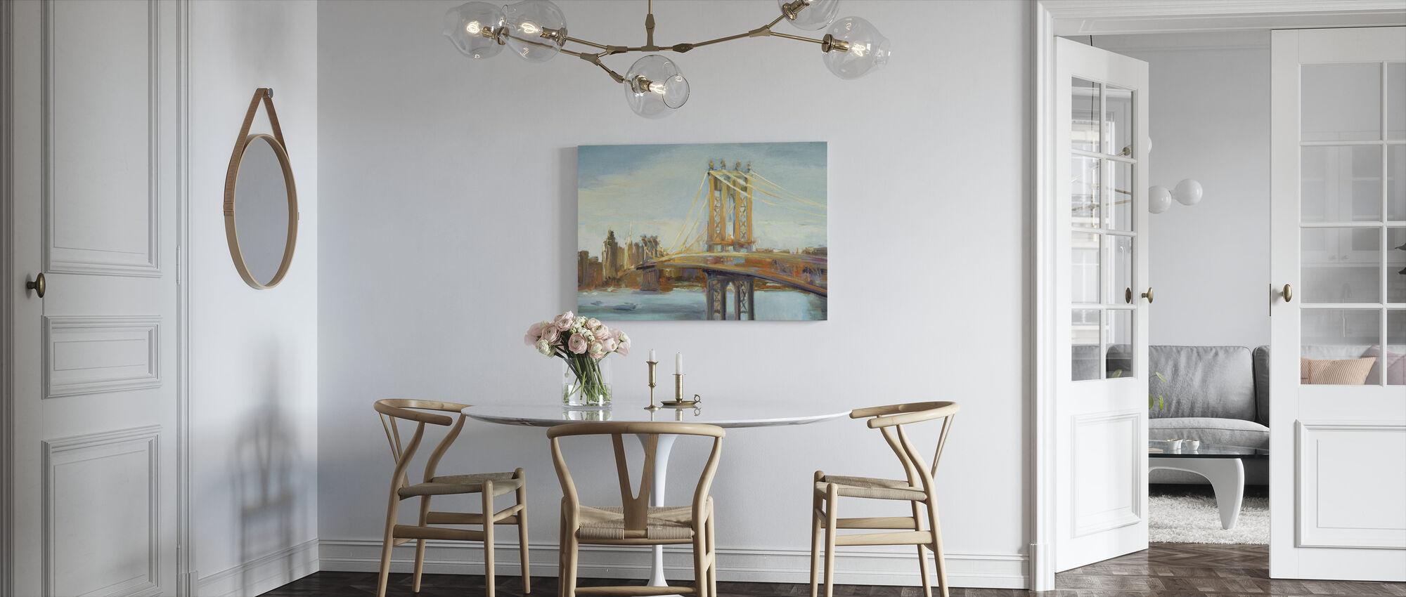 Sunny Manhattan Bridge - Billede på lærred - Køkken