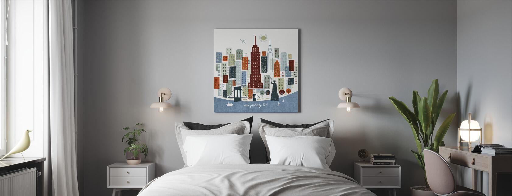 Värikäs New York - Canvastaulu - Makuuhuone