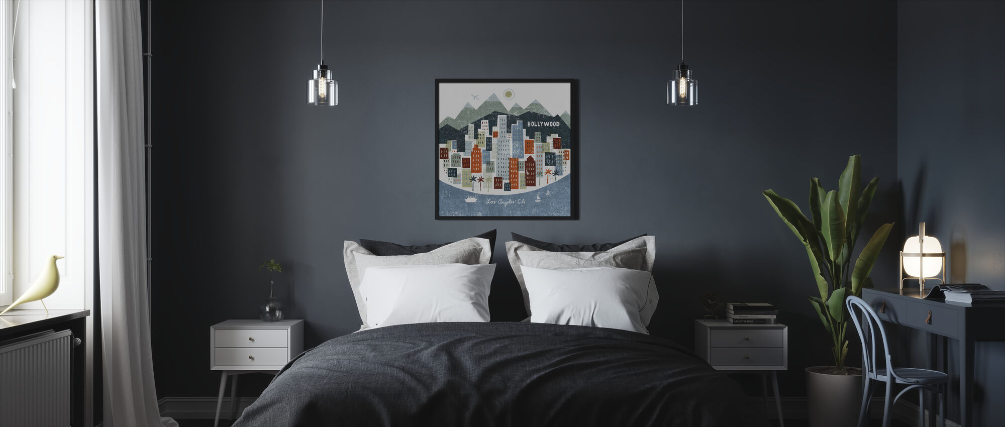 Colorful Los Angeles - Framed print - Bedroom