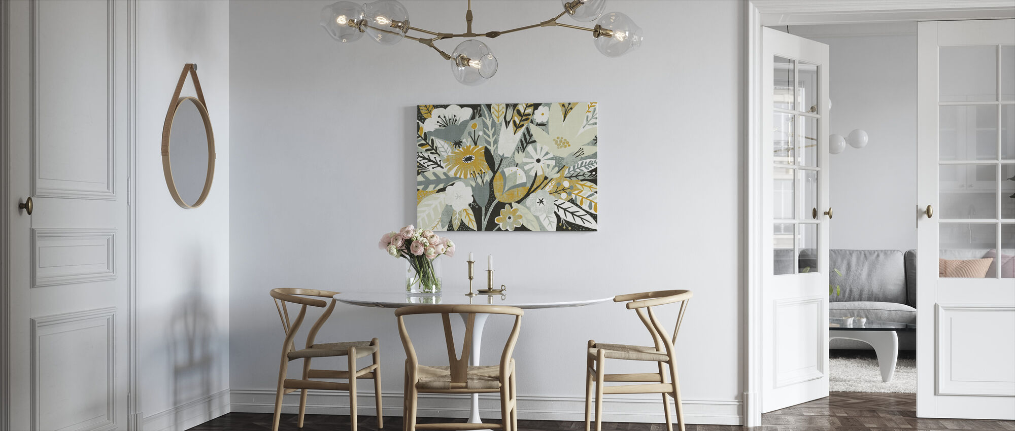 Vintage Bouquet Yellow - Canvas print - Kitchen