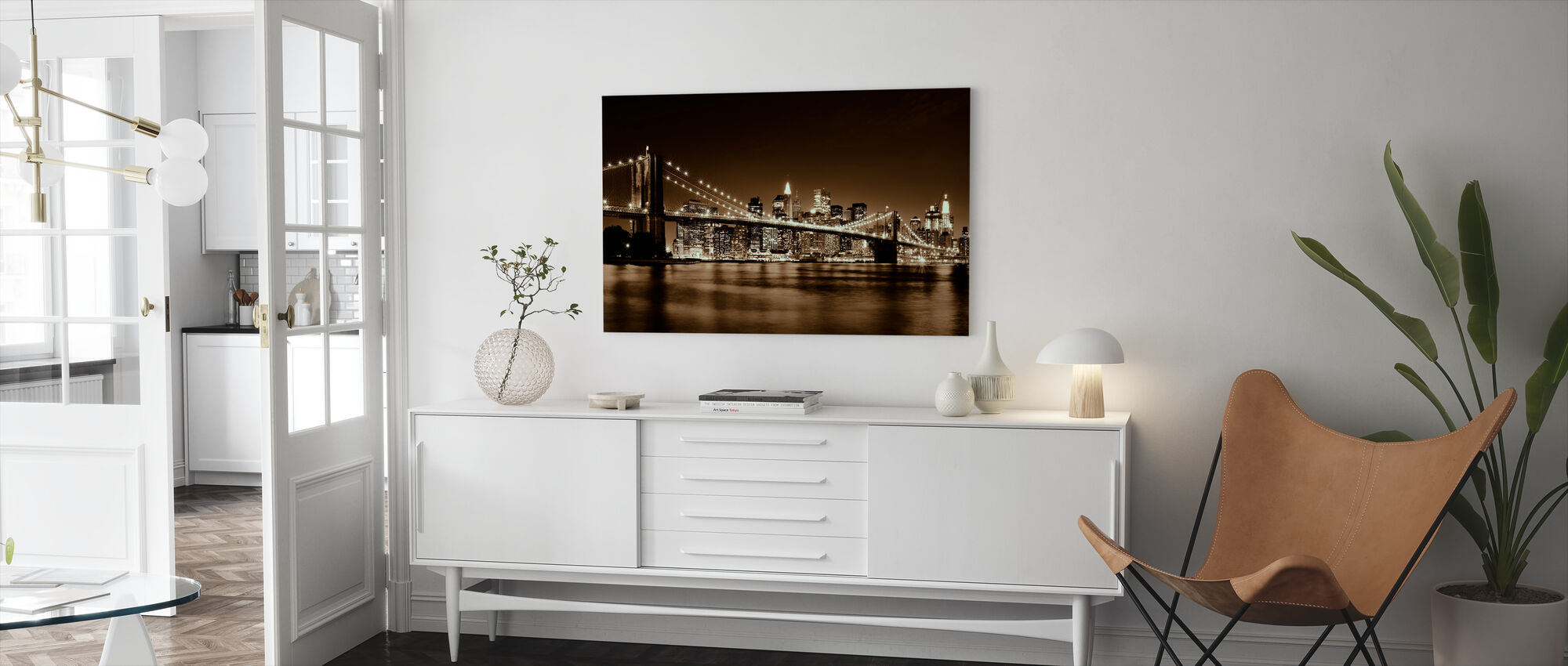 Brooklyn Bridge - Yellow - Canvas print - Living Room