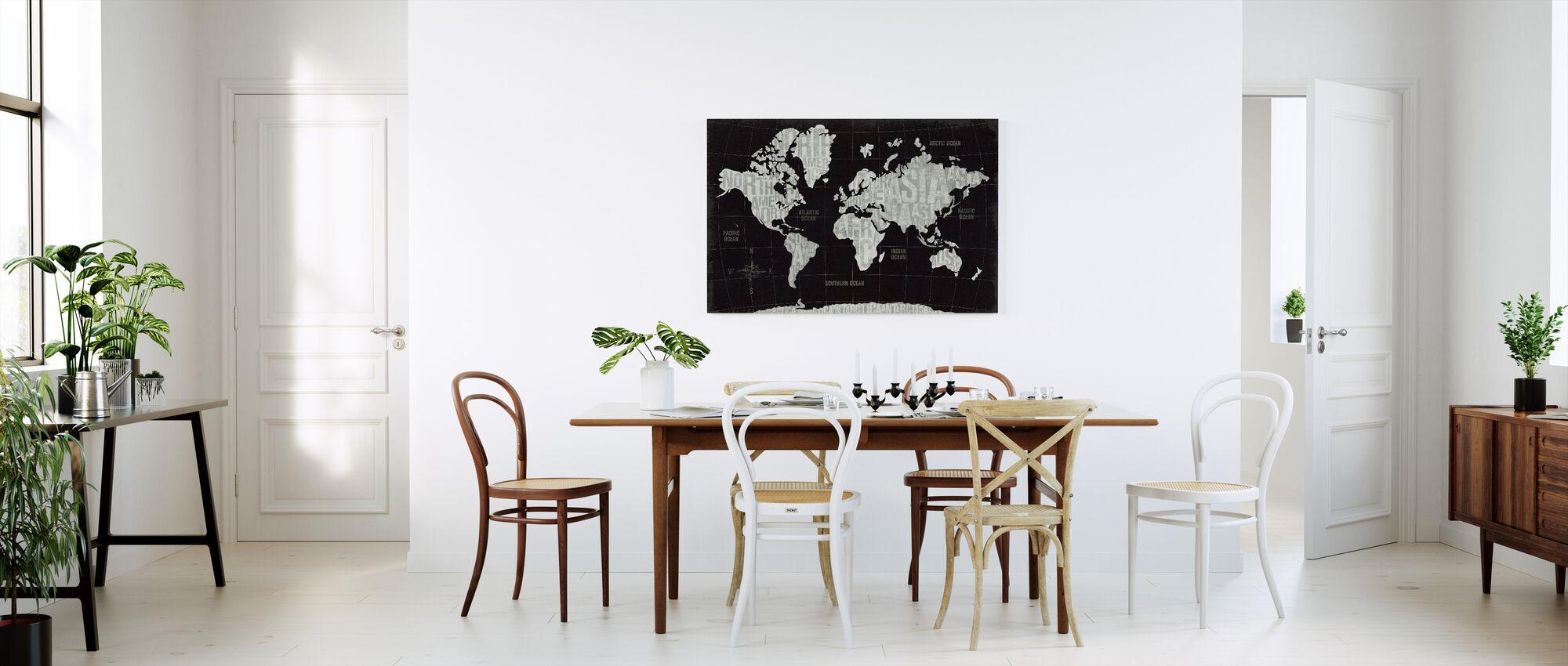 Moderne Verden Sort - Billede på lærred - Køkken