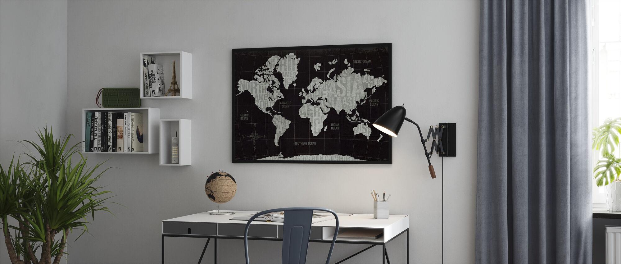Moderni maailma musta - Kehystetty kuva - Toimisto