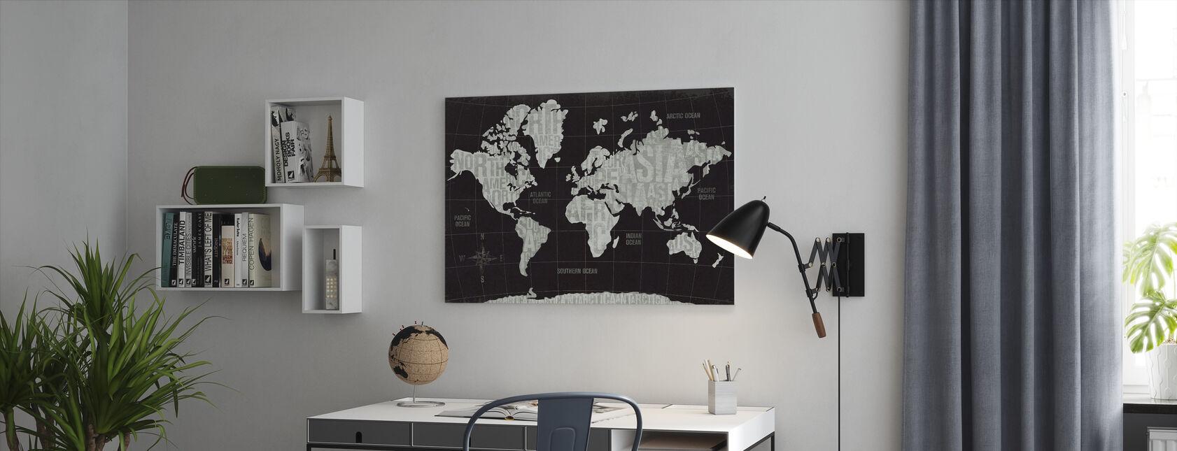 Moderne Verden Sort - Billede på lærred - Kontor