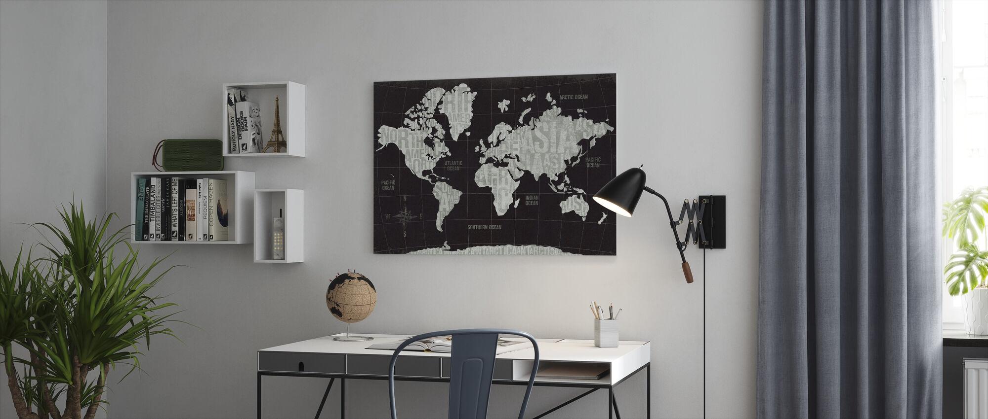 Modern World Schwarz - Leinwandbild - Büro