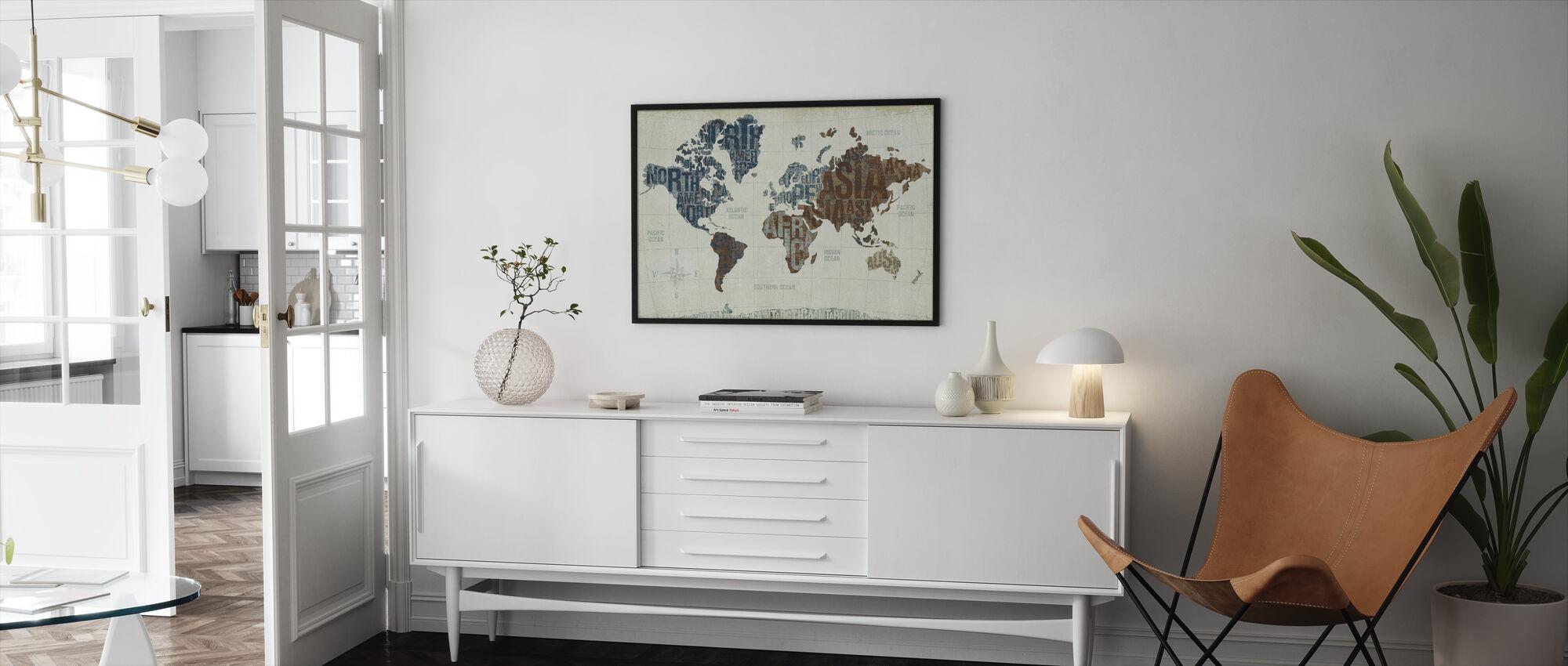 Modern World Neutral - Framed print - Living Room