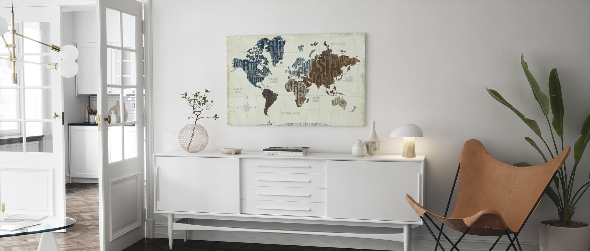Moderni maailma neutraali - Canvastaulu - Olohuone