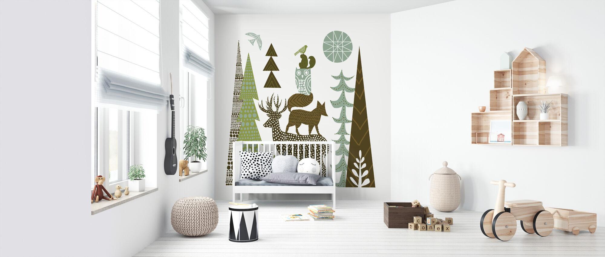 Forest Folklore Green Animals 1 - Wallpaper - Nursery