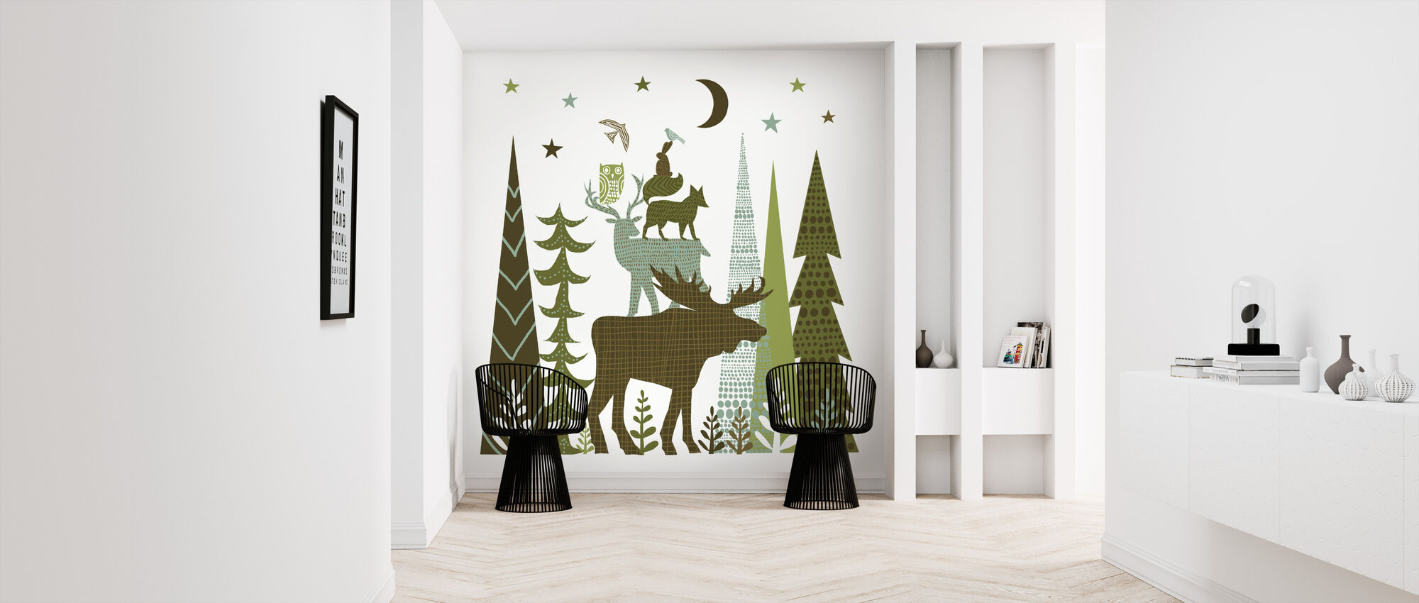 Forest Folklore Green Animals 2 - Wallpaper - Hallway