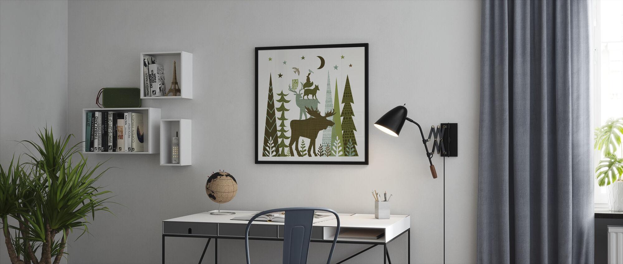 Skog Folklore Grønne Dyr 2 - Innrammet bilde - Kontor