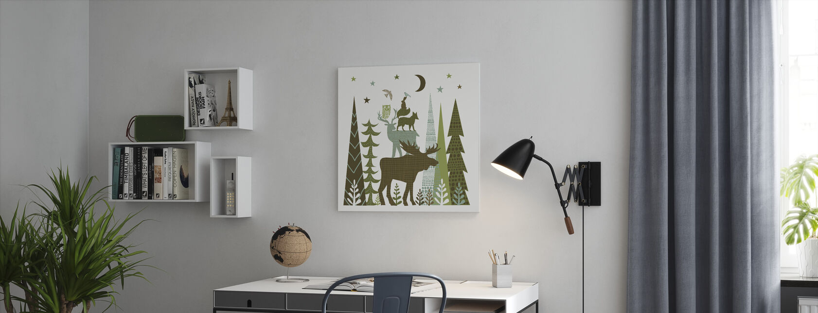 Forest Folklore Green Animals 2 - Canvas print - Office