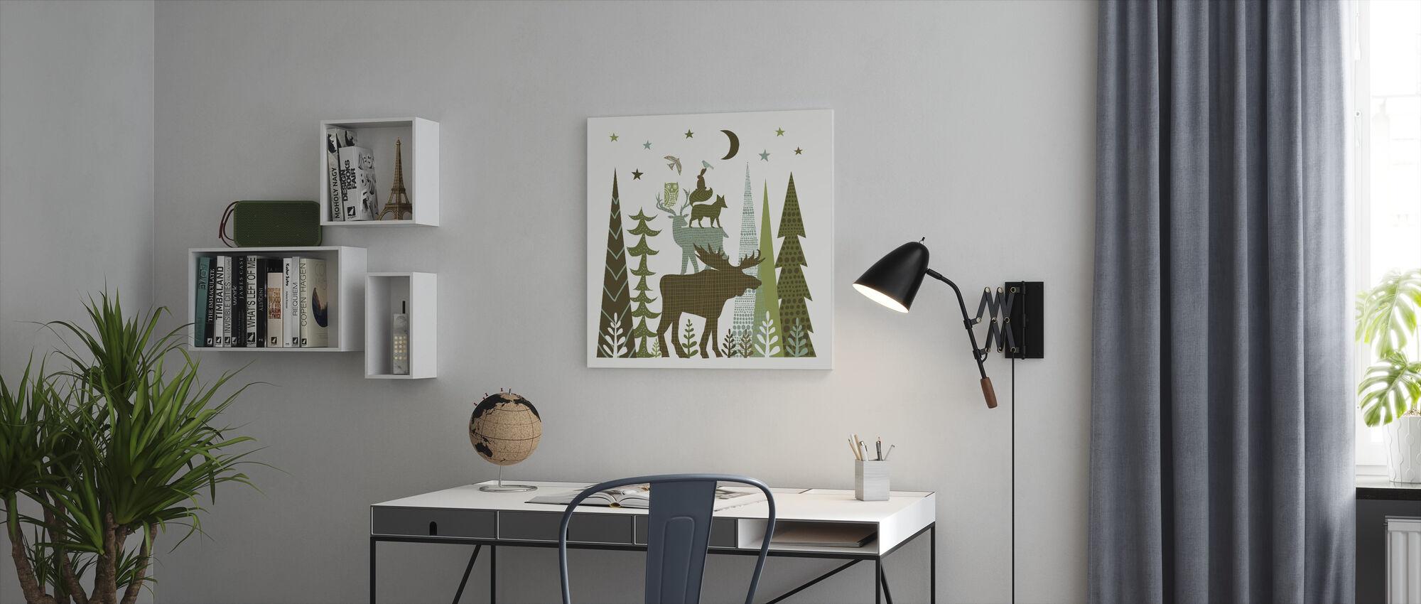 Bos Folklore Groene Dieren 2 - Canvas print - Kantoor