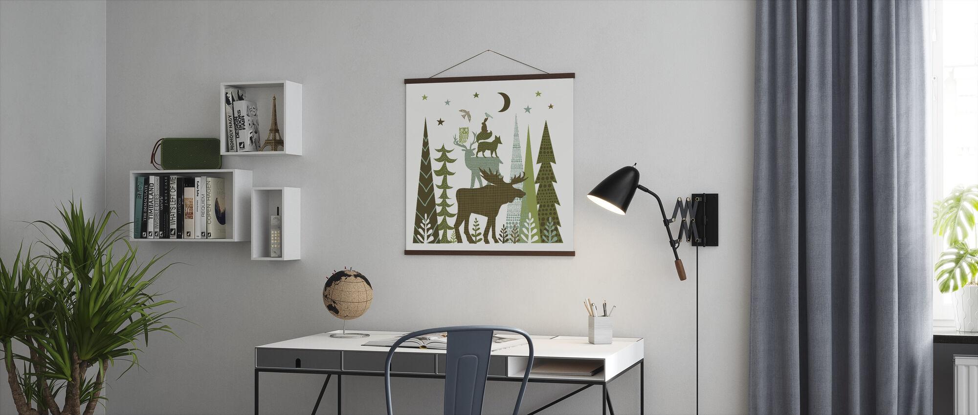 Skog Folklore Grønne Dyr 2 - Plakat - Kontor