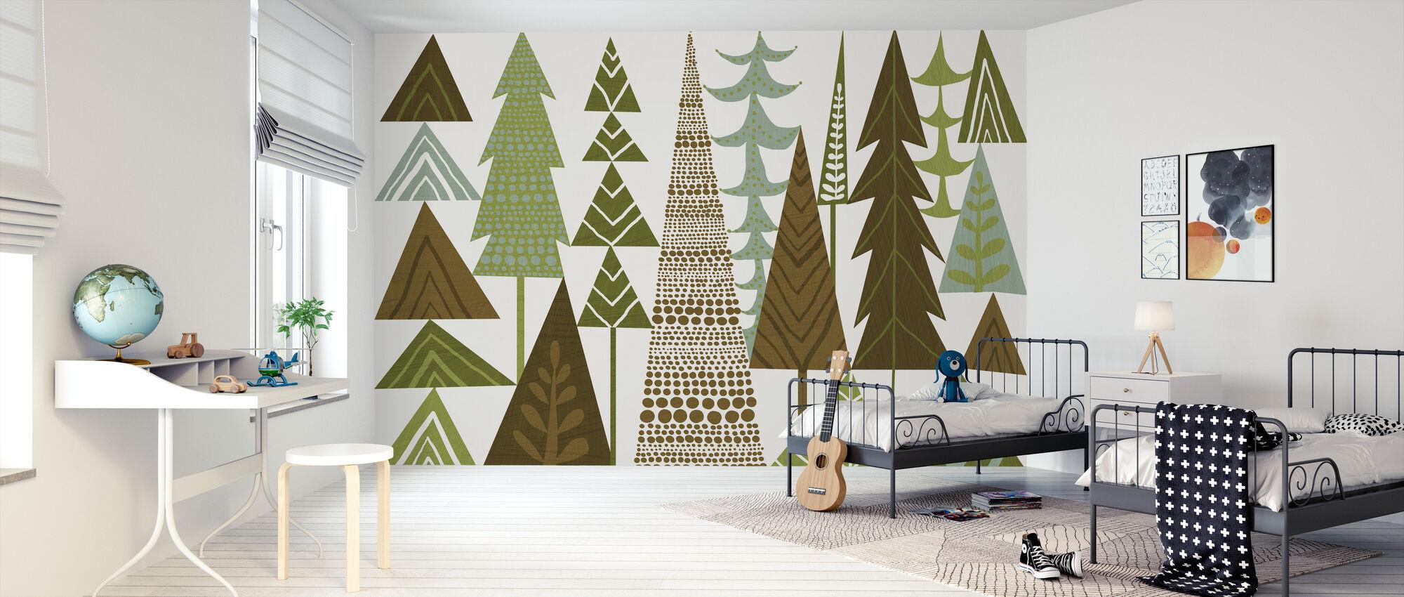 Metsä kansanperinne vihreät puut - Tapetti - Lastenhuone