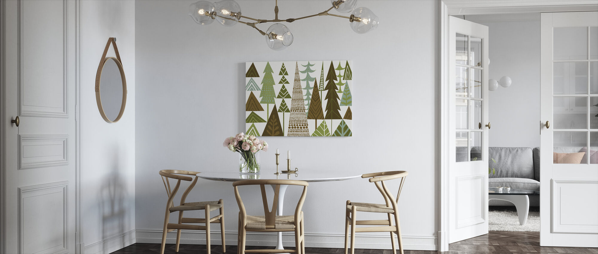 Forest Folklore Green Trees - Canvas print - Kitchen