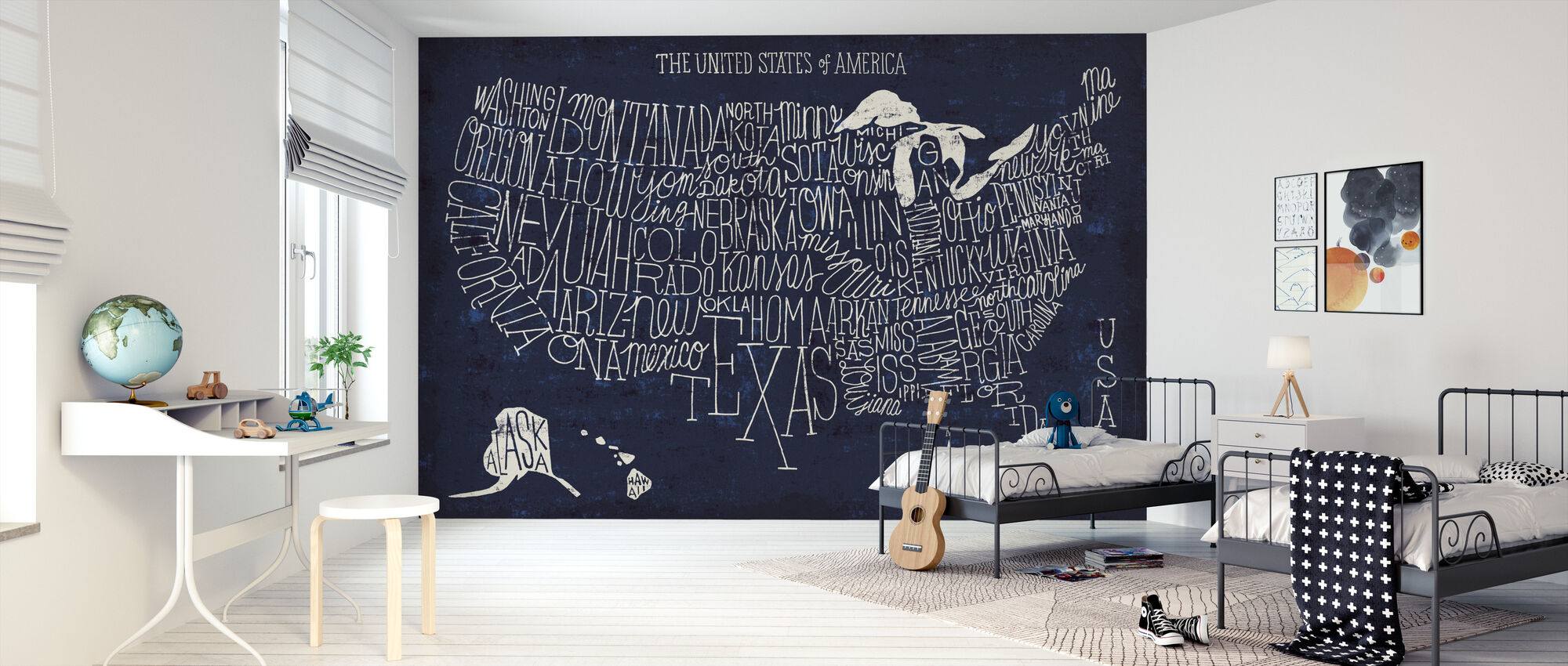 Hand Lettered US Map Blueprint - Wallpaper - Kids Room