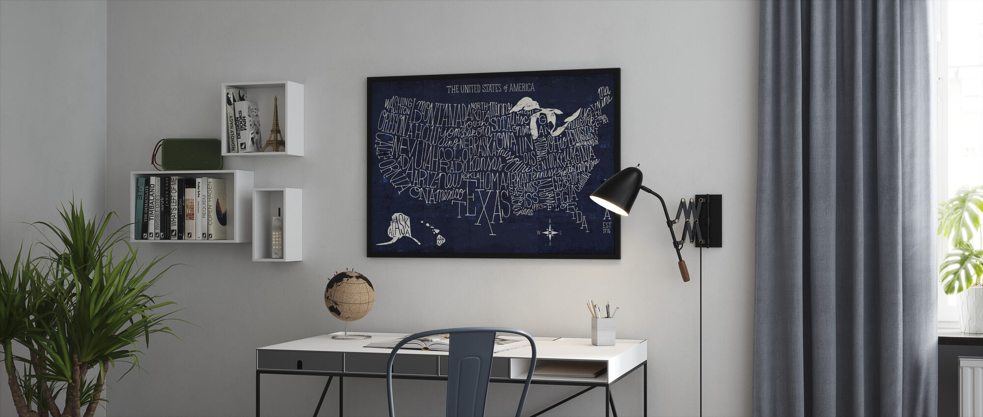 Hand Lettered US Map Blueprint - Framed print - Office