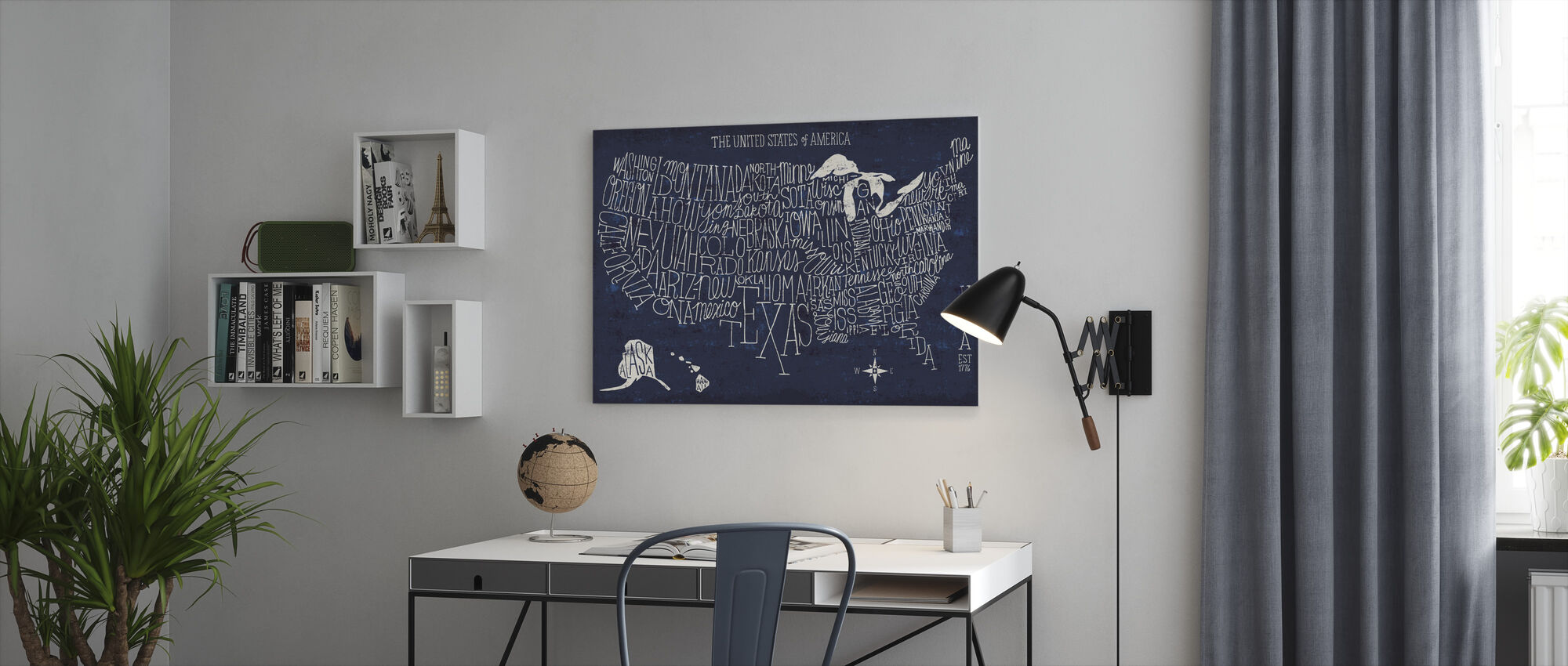 Hand Lettered US Map Blueprint - Canvas print - Office