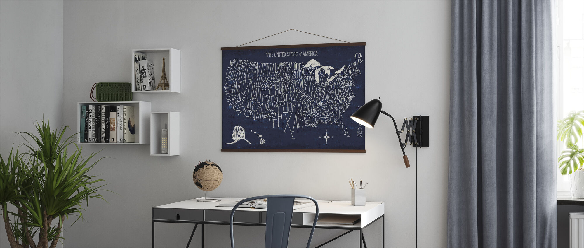 Hand Lettered US Map Blueprint - Poster - Office