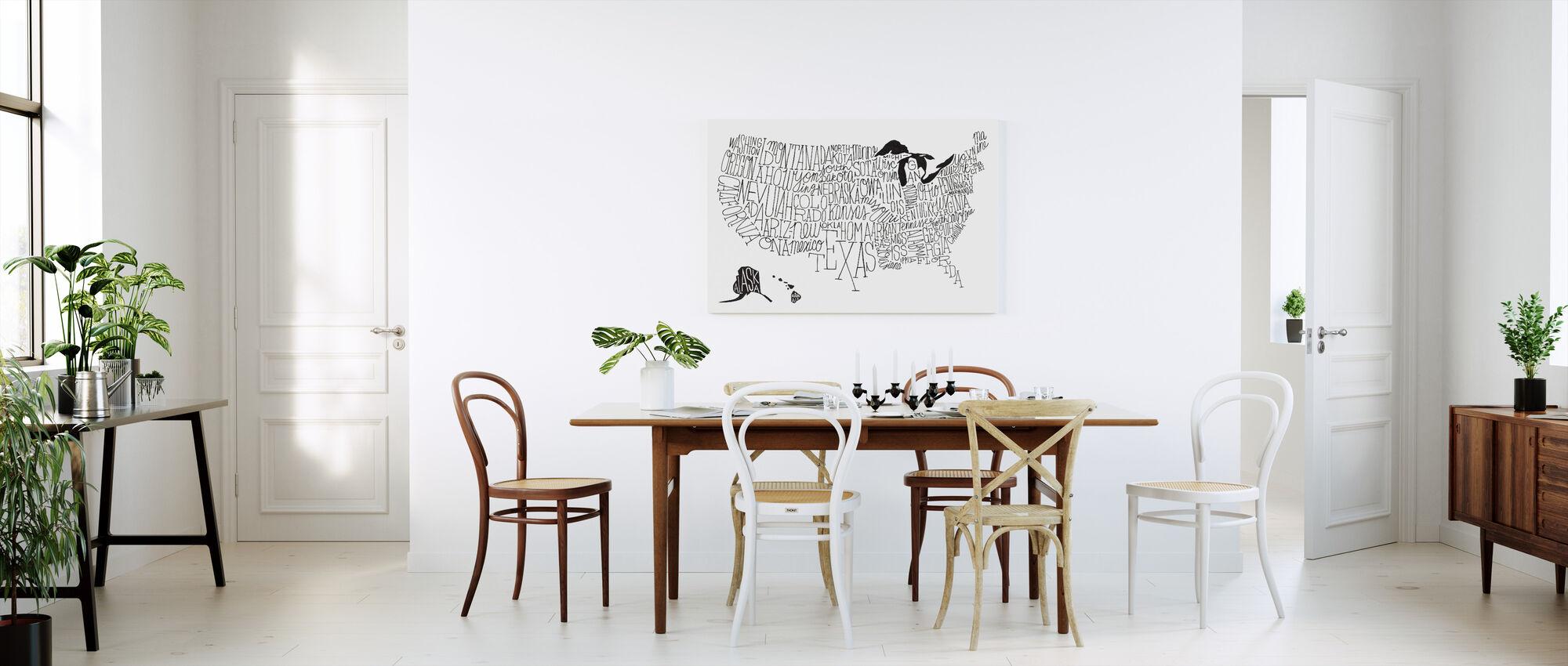 Hånd bogstaver USA kort BW - Billede på lærred - Køkken