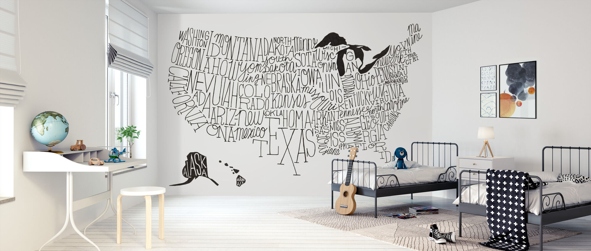 Hand Lettered US Map BW - Wallpaper - Kids Room