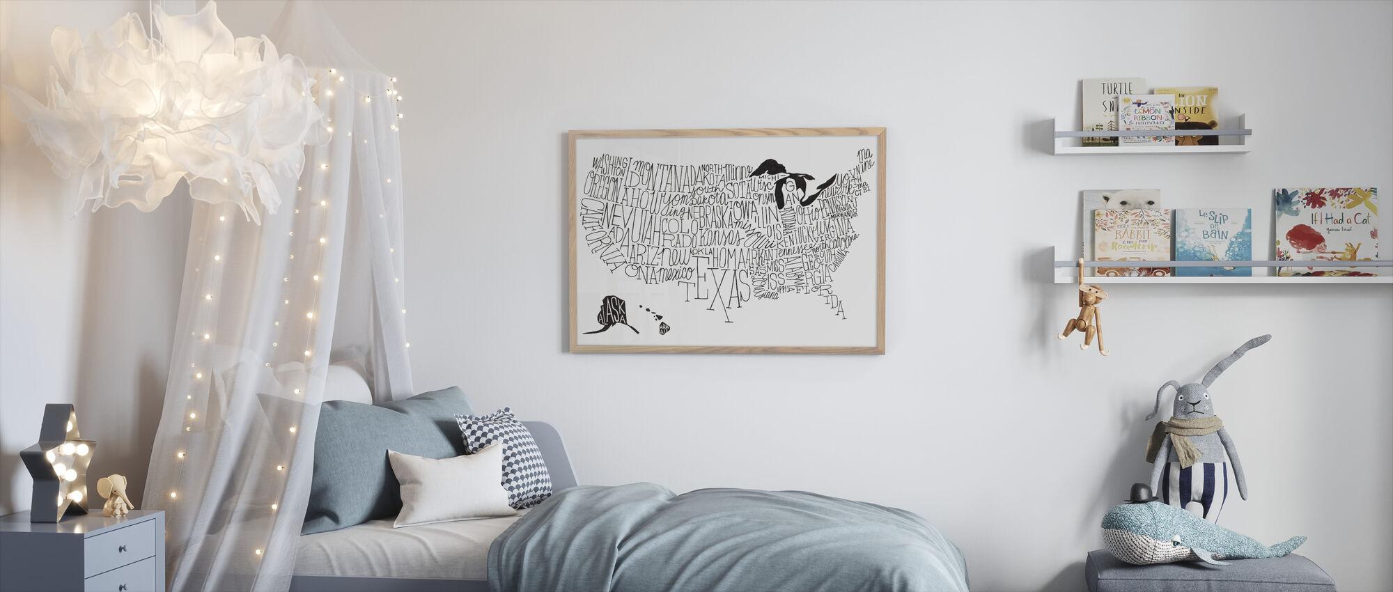 Käsi Lettered US Kartta BW - Kehystetty kuva - Lastenhuone