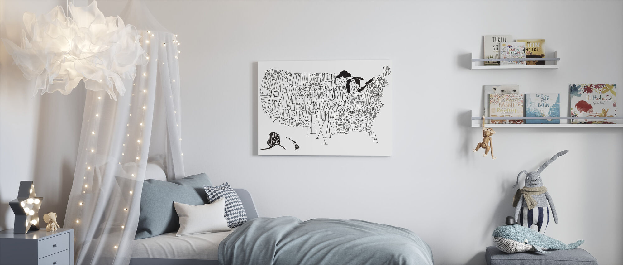 Hand Lettered US Map BW - Canvas print - Kids Room