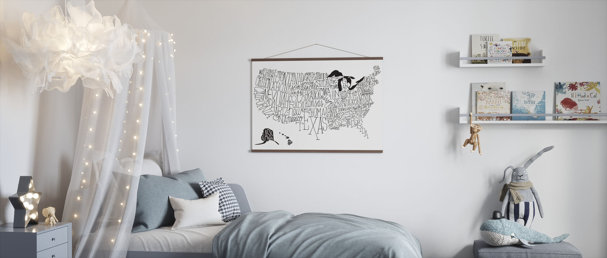 Hand Lettered US Map BW - Poster - Kids Room