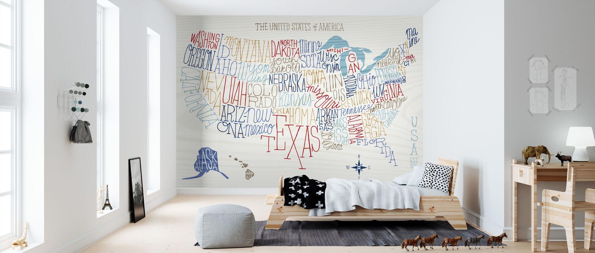 Hand Lettered US Map Colors - Wallpaper - Kids Room