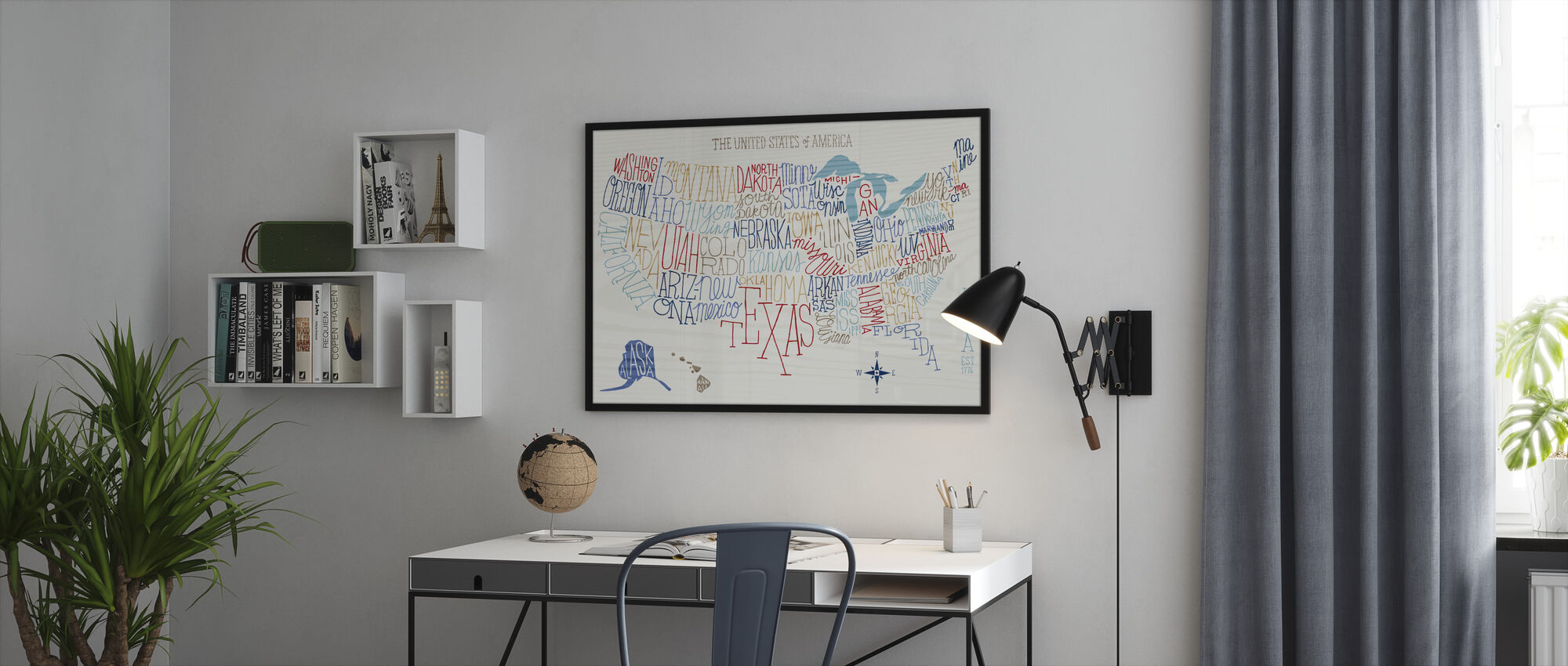 Hand Lettered US Map Colors - Framed print - Office