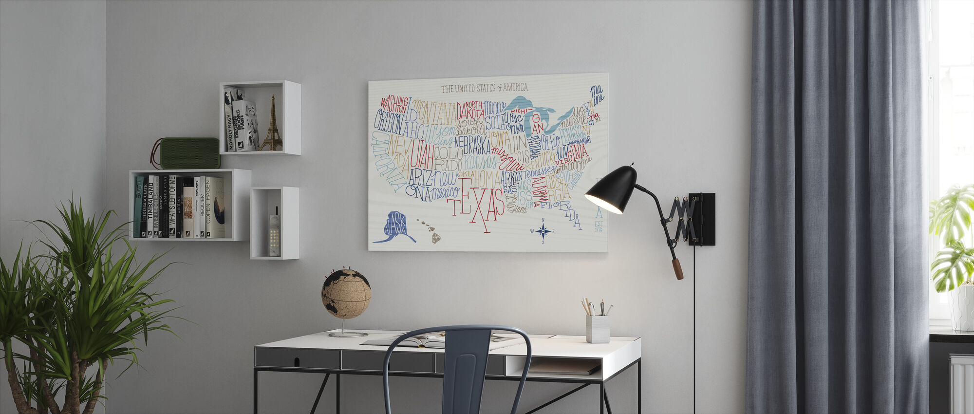 Hand Lettered US Map Colors - Canvas print - Office