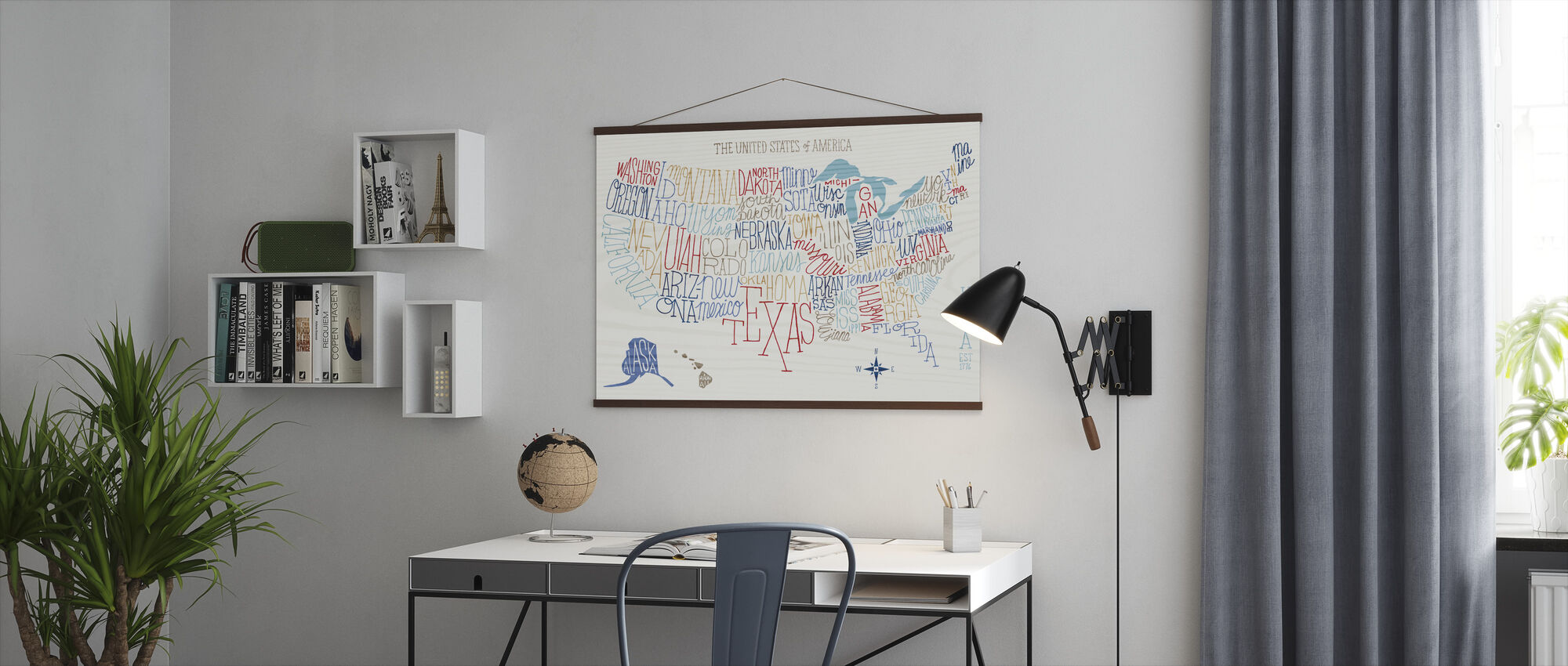 Hand Lettered US Map Colors - Poster - Office